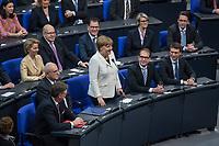 19. Sitzung des Deutschen Bundestag am Mittwoch den 14. Maerz 2018.<br /> Erster Tagesordnungspunkt war die Wahl von Angela Merkel zur Bundeskanzlerin.<br /> Im Bild: Angela Merkel ist mit 364 von 692 abgegebenen Stimmen zum vierten Mal zur Bundeskanzlerin gewaehlt worden. Sie nimmt die Wahl an.<br /> 14.3.2018, Berlin<br /> Copyright: Christian-Ditsch.de<br /> [Inhaltsveraendernde Manipulation des Fotos nur nach ausdruecklicher Genehmigung des Fotografen. Vereinbarungen ueber Abtretung von Persoenlichkeitsrechten/Model Release der abgebildeten Person/Personen liegen nicht vor. NO MODEL RELEASE! Nur fuer Redaktionelle Zwecke. Don't publish without copyright Christian-Ditsch.de, Veroeffentlichung nur mit Fotografennennung, sowie gegen Honorar, MwSt. und Beleg. Konto: I N G - D i B a, IBAN DE58500105175400192269, BIC INGDDEFFXXX, Kontakt: post@christian-ditsch.de<br /> Bei der Bearbeitung der Dateiinformationen darf die Urheberkennzeichnung in den EXIF- und  IPTC-Daten nicht entfernt werden, diese sind in digitalen Medien nach §95c UrhG rechtlich geschuetzt. Der Urhebervermerk wird gemaess §13 UrhG verlangt.]