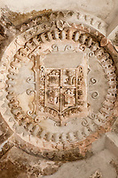 Antigua, Guatemala.  Coat-of-arms in Ceiling of the Ruins of the Cathedral of Santiago.