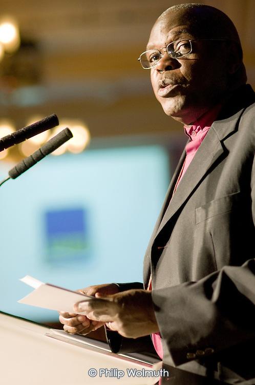 Dr John Sentamu, Archbishop of York, addresses a charity event at the Waldorf Hotel, London