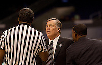 Mike Montgomery argues with the official. The California Golden Bears defeated the UCLA Bruins 85-72 during the semifinals of the Pacific Life Pac-10 Conference Tournament at Staples Center in Los Angeles, California on March 12th, 2010.