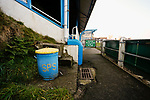 A bin in club colours at the Look Local Stadium. Stocksbridge Park Steels v Pickering Town, Evo-Stik East Division, 17th November 2018. Stocksbridge Park Steels were born from the works team of the local British Steel plant that dominates the town north of Sheffield.<br /> Having missed out on promotion via the play offs in the previous season, Stocksbridge were hovering above the relegation zone in Northern Premier League Division One East, as they lost 0-2 to Pickering Town. Stocksbridge finished the season in 13th place.