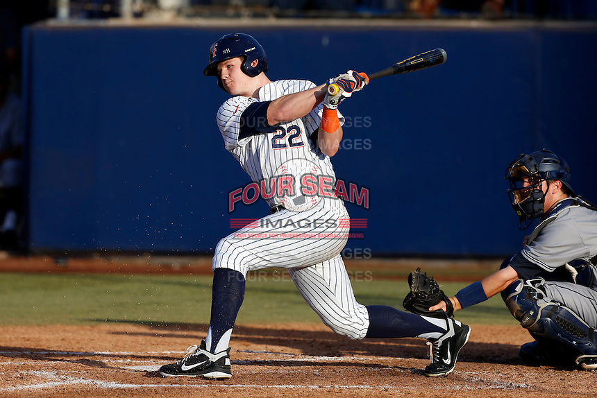 Austin Diemer #22 of the Cal State Fullerton Titans bats against the UC Irvine Anteaters at Goodwin Field on May 18, 2013 in Fullerton, California. Fullerton defeated UC Irvine, 3-2. (Larry Goren/Four Seam Images)