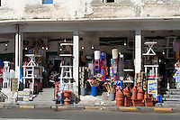 Tripoli, Libya - Plastic Circle.  Plastic Utensils and Household Items for Sale.  Chairs, Tables, Pots, Brooms.