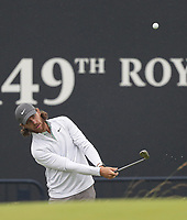 12th July 2021; The Royal St. George's Golf Club, Sandwich, Kent, England; The 149th Open Golf Championship, practice day; Tommy Fleetwood (ENG) play a pitch shot to the 18th green