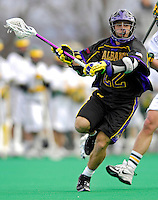 14 April 2007: University of Albany Great Danes' Jordan Levine, a Junior from Bethpage, NY, in action against the University of Vermont Catamounts at Moulton Winder Field, in Burlington, Vermont. The Great Danes defeated the Catamounts 14-7...Mandatory Photo Credit: Ed Wolfstein Photo