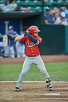 Connor Fitzsimons (14) of the Orem Owlz bats against the Ogden Raptors at Lindquist Field on August 3, 2018 in Ogden, Utah. The Raptors defeated the Owlz 9-4. (Stephen Smith/Four Seam Images)
