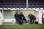 Arbroath 0 Edinburgh City 1, 15/03/2017. Gayfield Park, SPFL League 2. Away manager Gary Jardine (centre) dictates his team line-up to match secretary Gavin Kennedy at Gayfield Park before Arbroath hosted Edinburgh City in an SPFL League 2 fixture. The newly-promoted side from the Capital were looking to secure their place in SPFL League 2 after promotion from the Lowland League the previous season. They won the match 1-0 with an injury time goal watched by 775 spectators to keep them 4 points clear of bottom spot with three further games to play. Photo by Colin McPherson.