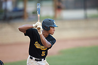 Dominic Byers (5) (Wingate University) of the Statesville Owls at bat against the High Point-Thomasville HiToms at Finch Field on July 19, 2020 in Thomasville, NC. The HiToms defeated the Owls 21-0. (Brian Westerholt/Four Seam Images)