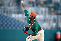 Greensboro Grasshoppers starting pitcher Edward Cabrera (28) delivers a pitch to the plate against the Augusta GreenJackets at First National Bank Field on April 10, 2018 in Greensboro, North Carolina.  The GreenJackets defeated the Grasshoppers 5-0.  (Brian Westerholt/Four Seam Images)