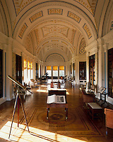 The magnificent library at Sledmere occupies pride of place on the first floor