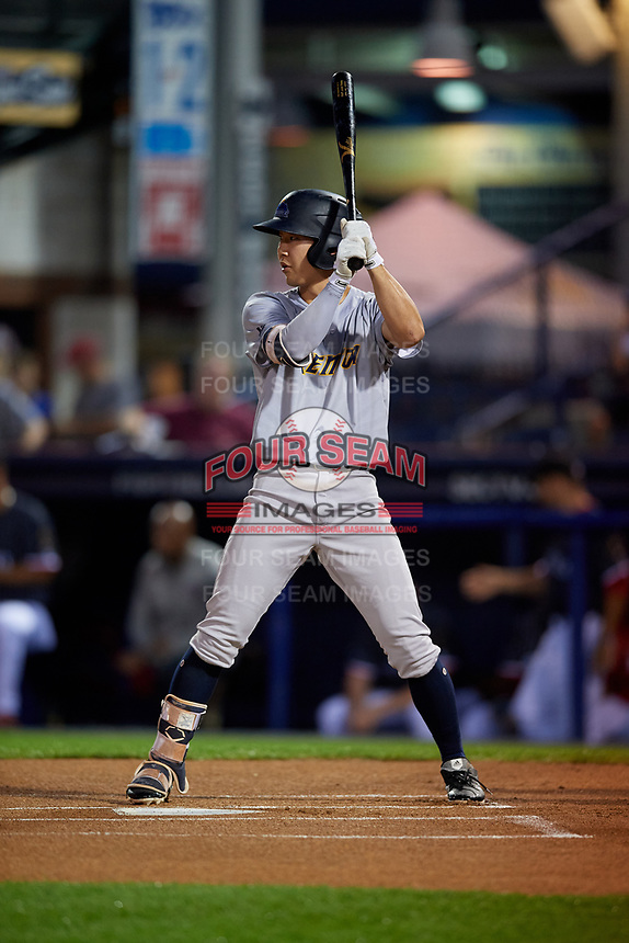 Trenton Thunder Hoy Jun Park (12) bats during an Eastern League game against the Reading Fightin Phils on August 16, 2019 at FirstEnergy Stadium in Reading, Pennsylvania.  Trenton defeated Reading 7-5.  (Mike Janes/Four Seam Images)
