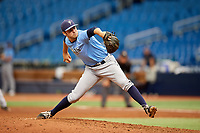 Simon Rosenblum-Larson (27) delivers a pitch during the Tampa Bay Rays Instructional League Intrasquad World Series game on October 3, 2018 at the Tropicana Field in St. Petersburg, Florida.  (Mike Janes/Four Seam Images)