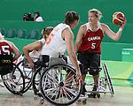 Janet McLachlan, Rio 2016 - Wheelchair Basketball // Basketball en fauteuil roulant.<br /> The Canadian women's wheelchair basketball team plays Netherlands in the quarter-finals // L'équipe canadienne féminine de basketball en fauteuil roulant affronte les Pays-Bas en quarts de finale. 13/09/2016.