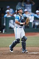 North Carolina Tar Heels catcher Tomas Frick (52) on defense against the North Carolina State Wolfpack at Boshamer Stadium on March 27, 2021 in Chapel Hill, North Carolina. (Brian Westerholt/Four Seam Images)