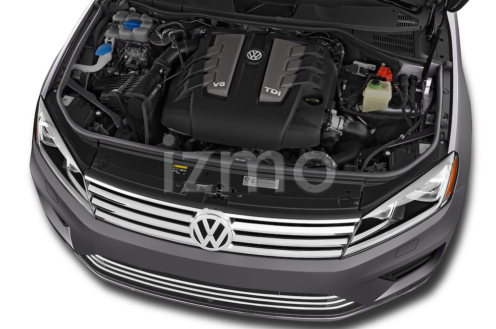 Car Stock 2015 Volkswagen Touareg Executive 5 Door Sport Utility Vehicle Engine high angle detail view