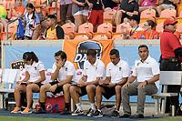 Houston, TX - Saturday June 17, 2017: The Houston Dash coaching staff during a regular season National Women's Soccer League (NWSL) match between the Houston Dash and the Orlando Pride at BBVA Compass Stadium.