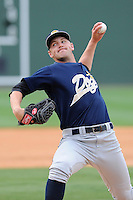 Pitcher Dietrich Enns (21) of the Charleston RiverDogs in a game against the Greenville Drive on Sunday, May 19, 2013, at Fluor Field at the West End in Greenville, South Carolina. Charleston won, 9-7. (Tom Priddy/Four Seam Images)