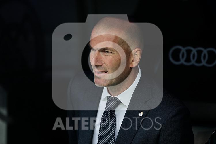 Real Madrid's coach Zinedine Zidane during La Liga match between Real Madrid and Athletic Club de Bilbao at Santiago Bernabeu Stadium in Madrid, Spain. April 21, 2019. (ALTERPHOTOS/A. Perez Meca)