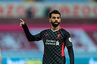 4th October 2020, Villa Park, Birmingham, England;  Liverpools Mohamed Salah gives directions during the English Premier League match between Aston Villa and Liverpool at Villa Park