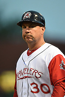 Arkansas Travelers manager Phillip Wellman (30) during a game against the San Antonio Missions on May 24, 2014 at Dickey-Stephens Park in Little Rock, Arkansas.  Arkansas defeated San Antonio 4-2.  (Mike Janes/Four Seam Images)