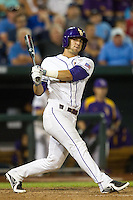 LSU Tigers pinch hitter Tyler Moore #2 bats during Game 4 of the 2013 Men's College World Series between the LSU Tigers and UCLA Bruins at TD Ameritrade Park on June 16, 2013 in Omaha, Nebraska. The Bruins defeated the Tigers 2-1. (Brace Hemmelgarn/Four Seam Images)