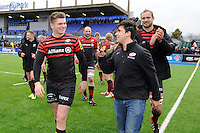 20130324 Copyright onEdition 2013©.Free for editorial use image, please credit: onEdition..Owen Farrell of Saracens celebrates winning the Premiership Rugby match between Saracens and Harlequins at Allianz Park on Sunday 24th March 2013 (Photo by Rob Munro)..For press contacts contact: Sam Feasey at brandRapport on M: +44 (0)7717 757114 E: SFeasey@brand-rapport.com..If you require a higher resolution image or you have any other onEdition photographic enquiries, please contact onEdition on 0845 900 2 900 or email info@onEdition.com.This image is copyright onEdition 2013©..This image has been supplied by onEdition and must be credited onEdition. The author is asserting his full Moral rights in relation to the publication of this image. Rights for onward transmission of any image or file is not granted or implied. Changing or deleting Copyright information is illegal as specified in the Copyright, Design and Patents Act 1988. If you are in any way unsure of your right to publish this image please contact onEdition on 0845 900 2 900 or email info@onEdition.com
