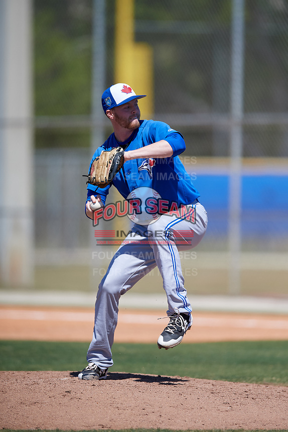 Toronto Blue Jays pitcher Josh DeGraaf (75) during a Minor League Spring Training Intrasquad game on March 14, 2018 at Englebert Complex in Dunedin, Florida.  (Mike Janes/Four Seam Images)