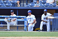 Asheville Tourists pitching coach Ryan Kibler (9), manager Warren Schaeffer (13) and hitting coach Martin Paco (7) during a game against the Greensboro Grasshoppers at McCormick Field on April 30, 2017 in Asheville, North Carolina. The Grasshoppers defeated the Tourists 7-0. (Tony Farlow/Four Seam Images)