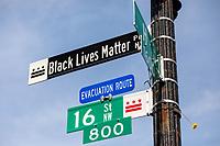 A street sign for Black Lives Matter Plaza in Washington, D.C. on Saturday, June 6, 2020.<br /> Credit: Amanda Andrade-Rhoades / CNP/AdMedia