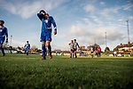 Harwich & Parkeston 2 Barnston 0, 11/11/2017. Royal Oak Ground, Andreas Carter Essex & Suffolk Border League Premier Division. Harwich & Parkeston reached the final of the Amateur Cup in 1953 at Wembley Stadium and played in front of a crowd of 100,000.  <br /> Half time at the Royal Oak Ground. Photo by Simon Gill.
