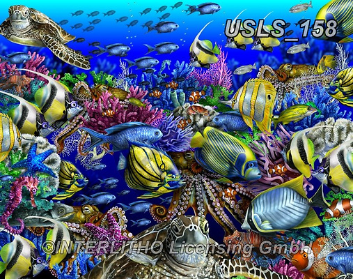 Lori, REALISTIC ANIMALS, REALISTISCHE TIERE, ANIMALES REALISTICOS, zeich, paintings+++++Coral Reef Collage,USLS158,#a#, EVERYDAY ,puzzle,puzzles