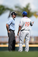 St. Lucie Mets manager Luis Rojas (19) argues a call with field umpire Alex Mackay during a game against the Bradenton Marauders on April 12, 2015 at McKechnie Field in Bradenton, Florida.  Bradenton defeated St. Lucie 7-5.  (Mike Janes/Four Seam Images)