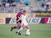 SAN JOSE, CA - MAY 09: Christie Pierce # 2 during a game between England and USWNT at Spartan Stadium on May 09, 1997 in San Jose, California.