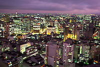 Sao Paulo at dusk. Skyline, cityscape. Sao Paulo, Brazil, skyline. Sao Paulo, Brazil, South America downtown business district.