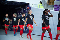 ORLANDO, FL - FEBRUARY 21: CANWNT walking out of the tunnel before a game between Argentina and Canada at Exploria Stadium on February 21, 2021 in Orlando, Florida.