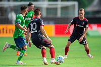 LAKE BUENA VISTA, FL - JULY 14: Alvaro Medran #10 of the Chicago Fire dribbles the ball during a game between Seattle Sounders FC and Chicago Fire at Wide World of Sports on July 14, 2020 in Lake Buena Vista, Florida.