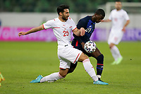 ST. GALLEN, SWITZERLAND - MAY 30: Timothy Weah #21 battles for a ball during a game between Switzerland and USMNT at Kybunpark on May 30, 2021 in St. Gallen, Switzerland.