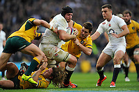 Ben Morgan of England forces his way through Michael Hooper, Adam Ashley-Cooper and Bernard Foley of Australia to score a try during the QBE International match between England and Australia at Twickenham Stadium on Saturday 29th November 2014 (Photo by Rob Munro)