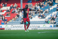 BLACKBURN, ENGLAND - JANUARY 24:   Bafetibis Gomis of Swansea City gestures to team mates during the FA Cup Fourth Round match between Blackburn Rovers and Swansea City at Ewood park on January 24, 2015 in Blackburn, England.  (Photo by Athena Pictures/Getty Images)