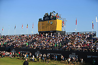 18th July 2021; Royal St Georges Golf Club, Sandwich, Kent, England; The Open Championship Golf, Day Four; a view of the main scoreboard above the grandstand on the 18th green after the conclusion of play