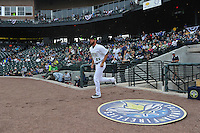 Pitcher Craig Missigman (25) of the Columbia Fireflies is introduced to the crowd before the home opener against the Greenville Drive on Thursday, April 14, 2016, their first day at the new Spirit Communications Park in Columbia, South Carolina. The Mets affiliate moved to Columbia this year from Savannah. Columbia won, 4-1. (Tom Priddy/Four Seam Images)