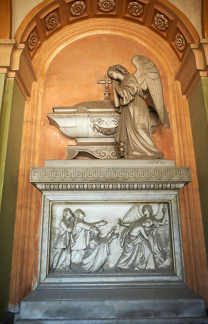 Pictures of the stone classical sculptured of an angel on a monumental tombs of Giovanni Chiarella,  Staglieno Monumental Cemetery. Sculptor Giovanni Battista Cevasco 1851,  Genoa, Italy