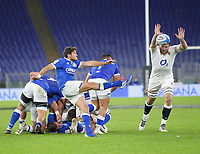 31st October 2020, Olimpico Stadium, Rome, Italy; Six Nations International Rugby Union, Italy versus England;  Marcello Violi (Italy) box kicks past the attempted block