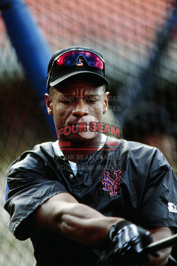 Rickey Henderson of the New York Mets during a game against the Los Angeles Dodgers at Dodger Stadium circa 1999 in Los Angeles, California. (Larry Goren/Four Seam Images)