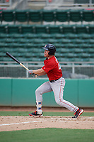 Boston Red Sox center fielder Nick Decker (46) follows through on a swing during a Florida Instructional League game against the Baltimore Orioles on September 21, 2018 at JetBlue Park in Fort Myers, Florida.  (Mike Janes/Four Seam Images)