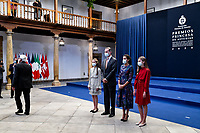 OVIEDO, SPAIN - OCTOBER 16: King Felipe VI of Spain, Queen Letizia of Spain, Crown Princess Leonor of Spain (L) and Princess Sofia of Spain (R) attend an audience to congratulate the winners at the Reconquista Hotel during the 'Princesa De Asturias' Awards 2020 on October 16, 2020 in Oviedo, Spain Credit: Jimmy Olsen/MediaPunch