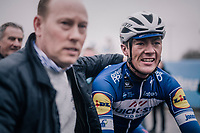 victory for Yves Lampaert (BEL/Quick Step Floors) who wins the race for a 2nd consecutive time<br /> <br /> 73rd Dwars Door Vlaanderen 2018 (1.UWT)<br /> Roeselare - Waregem (BEL): 180km
