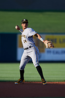 Bradenton Marauders shortstop Adrian Valerio (14) throws to first base during a game against the Lakeland Flying Tigers on April 12, 2018 at Publix Field at Joker Marchant Stadium in Lakeland, Florida.  Bradenton defeated Lakeland 5-4.  (Mike Janes/Four Seam Images)