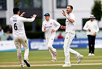 Ollie Robinson (R) of Sussex is congratulated after taking the wicket of Joe Gordon during Kent CCC vs Sussex CCC, LV Insurance County Championship Group 3 Cricket at The Spitfire Ground on 14th July 2021