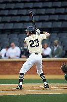 Jake Mueller (23) of the Wake Forest Demon Deacons at bat against the Miami Hurricanes at David F. Couch Ballpark on May 11, 2019 in  Winston-Salem, North Carolina. The Hurricanes defeated the Demon Deacons 8-4. (Brian Westerholt/Four Seam Images)